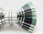 Dapper Cat Green Black and White Plaid Pattern Cat Bow Tie