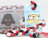 Star Wars Cross Stitch Quilt Style Catnip Stuffed NerdRat Cat Toy