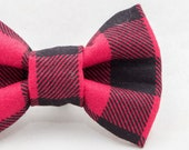 Dapper Cat Buffalo Plaid Pattern Cat Bow Tie
