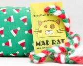 Christmas Santa Hats on Green Xmas Catnip Stuffed MadRat Cat Toy