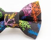 Dapper Cat Rainbow Snow Flakes Pattern Cat Bow Tie