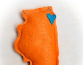 Orange Catnip Stuffed Wisc'rs Illinois Shaped Felt Catnip Toy
