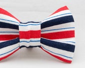 4th of July Red White & Blue Stripes Pattern Dapper Cat Bow Tie
