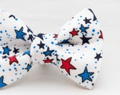4th of July Red & Blue Stars on White Pattern Dapper Cat Bow Tie