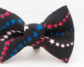 4th of July Red White & Blue Stars on Black Pattern Dapper Cat Bow Tie