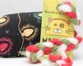 SMALL Christmas Lights on Black Xmas Catnip Stuffed MadRat Cat Toy