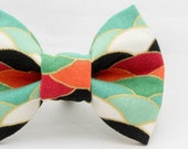 Red and Green Waves Dapper Cat Bow Tie