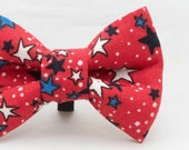 4th of July White & Blue Stars on Red Pattern Dapper Cat Bow Tie
