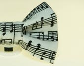 Dapper Cat Musical Notes Black and White Cat Bow Tie