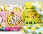 Bananya Cat Square Pattern MadRat Catnip Stuffed Cat Toy