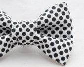 Dapper Cat Black Polka Dot on White Pattern Cat Bow Tie