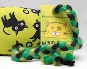 Black Cats on Green Pattern Catnip Stuffed MadRat Cat Toy