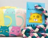 Pastel Rainbow Cats Pattern MadRat Catnip Stuffed Cat Toy
