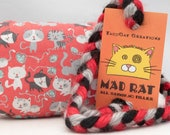 Cats and Yarn on Red Catnip Stuffed MadRat Cat Toy