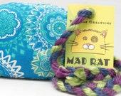 Blue Geometric Pattern Catnip Stuffed MadRat Cat Toy