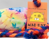 Rainbow Birds Pattern MadRat Catnip Stuffed Cat Toy