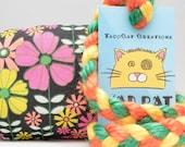 Neon Flowers Pattern MadRat Catnip Stuffed Cat Toy