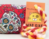 Sugar Skulls on Red Catnip Stuffed MadRat Cat Toy