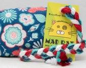 Blue Floral Pattern Catnip Stuffed MadRat Cat Toy