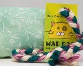 Green Floral Pattern Catnip Stuffed MadRat Cat Toy