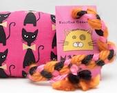 Black Cats on Pink Catnip Stuffed MadRat Cat Toy