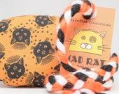 Cats on Orange Catnip Stuffed MadRat Cat Toy