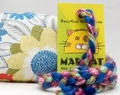 Floral Pattern on White Catnip Stuffed MadRat Cat Toy