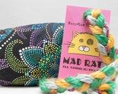 Dark Floral Dots Pattern MadRat Catnip Stuffed Cat Toy
