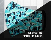 READY TO SHIP Glow in the Dark Blue Mushrooms Pattern Contoured Cotton Face Mask w/ Filter Pocket