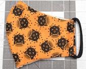 READY TO SHIP Halloween Tarot Cats on Orange Contoured Cotton Face Mask w/ Filter Pocket