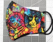 READY TO SHIP Rainbow Cats Pattern Contoured Cotton Face Mask w/ Filter Pocket