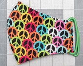 READY TO SHIP Rainbow Peace Signs Pattern Contoured Cotton Face Mask w/ Filter Pocket