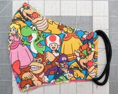READY TO SHIP Nintendo Characters Pattern Contoured Cotton Face Mask w/ Filter Pocket