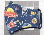 READY TO SHIP Space Ships Cotton Face Mask w/ Filter Pocket