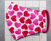 READY TO SHIP Valentine's Hearts on White Pattern Contoured Cotton Face Mask w/ Filter Pocket