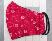 READY TO SHIP Valentine's Hearts on Red Pattern Contoured Cotton Face Mask w/ Filter Pocket