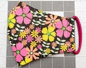 READY TO SHIP Neon Flowers on Black Cotton Face Mask w/ Filter Pocket