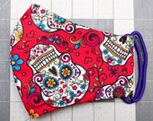 READY TO SHIP Sugar Skulls on red Pattern Contoured Cotton Face Mask w/ Filter Pocket