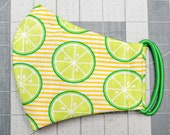 READY TO SHIP Limes on Stripes Pattern Contoured Cotton Face Mask w/ Filter Pocket