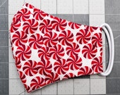 READY TO SHIP Peppermint Candies Pattern Contoured Cotton Face Mask w/ Filter Pocket