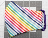READY TO SHIP Rainbow Stripe Pattern Contoured Cotton Face Mask w/ Filter Pocket