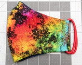 READY TO SHIP Rainbow Cloud Pattern Contoured Cotton Face Mask w/ Filter Pocket