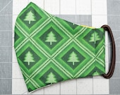 READY TO SHIP Evergreen Trees on Green Stitch Pattern Contoured Cotton Face Mask w/ Filter Pocket