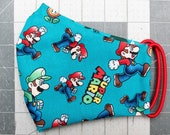 READY TO SHIP Super Mario Toss Pattern Contoured Cotton Face Mask w/ Filter Pocket