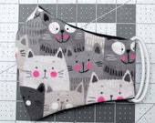 READY TO SHIP Gray Cats Pattern Flannel Face Mask w/ Filter Pocket