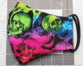 READY TO SHIP Rainbow Skulls Pattern Contoured Cotton Face Mask w/ Filter Pocket