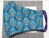 READY TO SHIP Peacock Feathers Pattern Contoured Cotton Face Mask w/ Filter Pocket