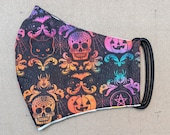 READY TO SHIP Halloween Rainbow Skulls Pumpkins and Cats Pattern Contoured Cotton Face Mask w/ Filter Pocket