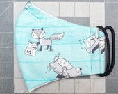 READY TO SHIP Cute Animal Hikers on Blue Pattern Contoured Cotton Face Mask w/ Filter Pocket