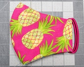 READY TO SHIP Pineapples on Pink Pattern Contoured Cotton Face Mask w/ Filter Pocket